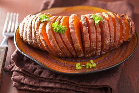sweet potato: Baked hasselback potato Stock Photo