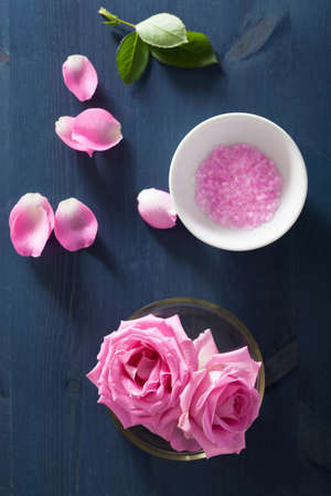 flower rose: rose flower herbal salt for spa and aromatherapy