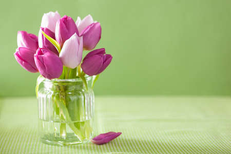 beautiful purple tulip flowers bouquet in vase Stock Photo