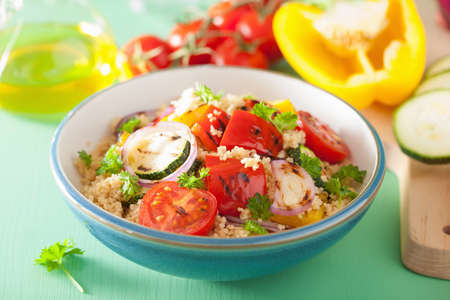 yellow  green: healthy couscous salad with grilled tomato pepper zucchini onion