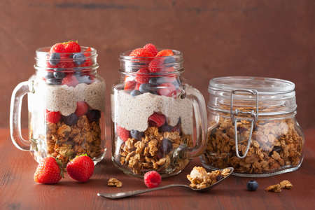 alimentos sanos: granola casera y chia pudín de semilla con bayas desayuno saludable