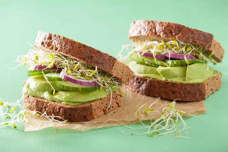 healthy avocado sandwich with cucumber alfalfa sprouts onion Foto de archivo