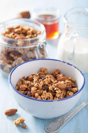breakfast bowl: homemade healthy granola in bowl for breakfast Stock Photo