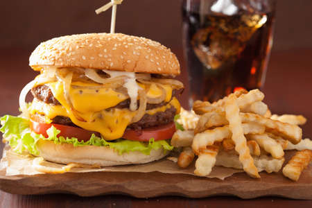 cheeseburger: double cheeseburger with tomato and onion Stock Photo
