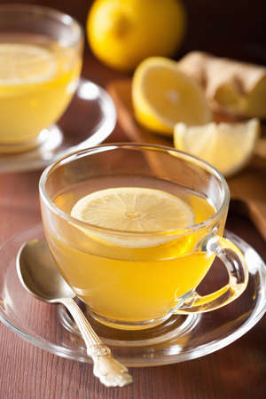 hot drink: hot lemon ginger tea in glass cup Stock Photo