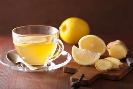 hot lemon ginger tea in glass cup Stock Photo