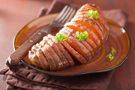 baked: Baked hasselback potato Stock Photo