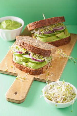 sprouts: healthy avocado sandwich with cucumber alfalfa sprouts onion Stock Photo