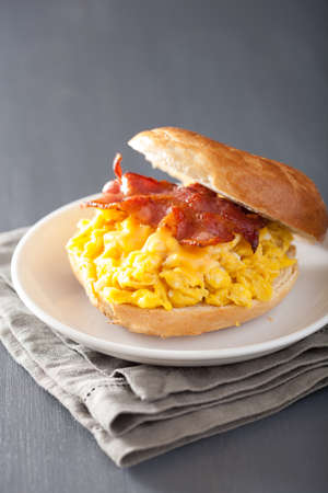 bacon: breakfast sandwich on bagel with egg bacon cheese