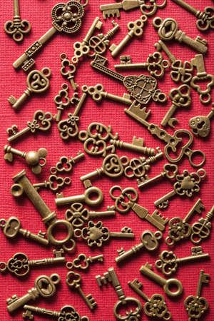 old vintage: steampunk old vintage metal keys background Stock Photo