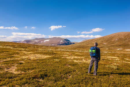hiker with backpack traveling in Norway mountains Dovrefjell