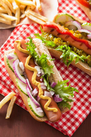 sides: grilled hot dogs with vegetables ketchup mustard