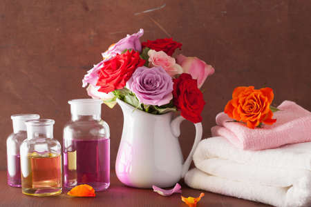 perfumery: essential oil and rose flowers aromatherapy spa perfumery