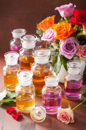 perfumery: essential oil and rose flowers, aromatherapy spa perfumery Stock Photo
