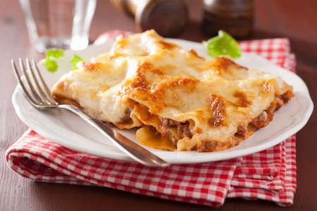 homemade italian lasagna on plate Stock Photo