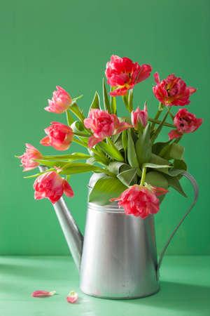 bouquet de fleurs: belles fleurs de tulipes roses bouquet en arrosoir