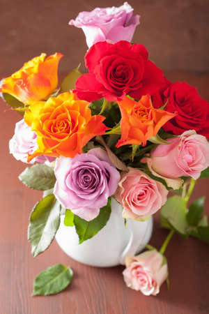 flowers in vase: beautiful colorful rose flowers bouquet in vase
