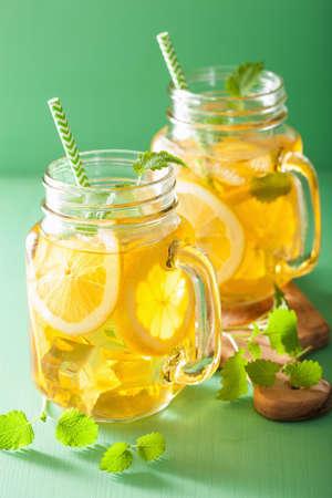melissa: ice tea with lemon and melissa in mason jars