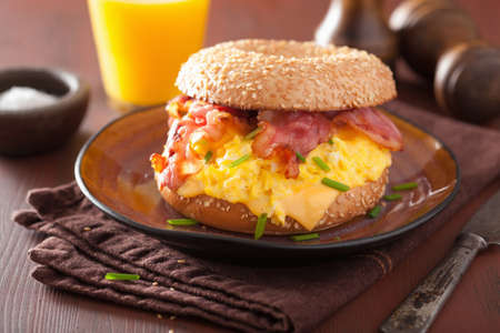 tastes: breakfast sandwich on bagel with egg bacon cheese