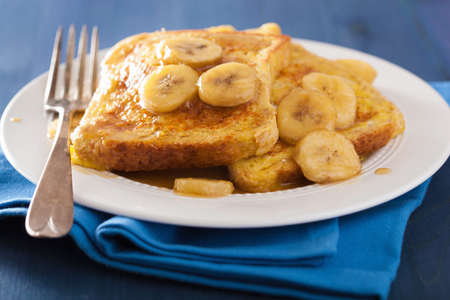 caramelized: french toasts with caramelized banana for breakfast