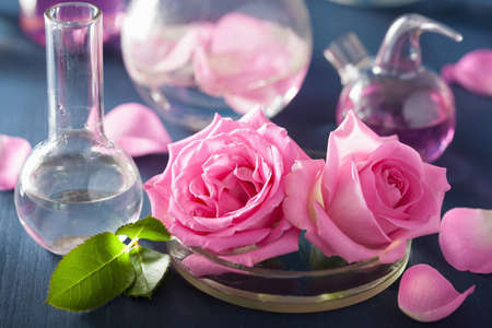 flasks: alchemy and aromatherapy with rose flowers and chemical flasks Stock Photo