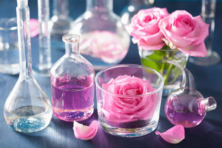 blue roses: alchemy and aromatherapy with rose flowers and chemical flasks Stock Photo