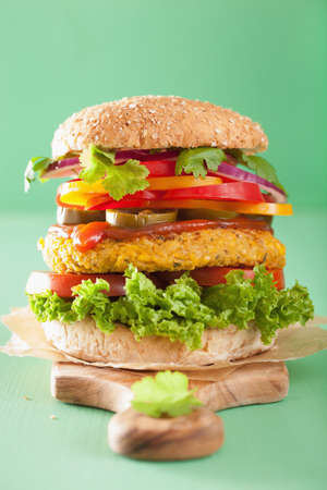 sweetcorn: veggie chickpea and sweetcorn burger with pepper jalapeno onion