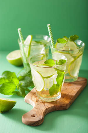 mocktail: mojito cocktail and ingredients over green background