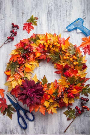 artifical: handmade diy artifical autumn wreath decoration with leaves berry flower