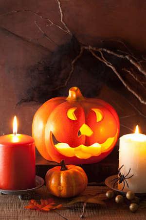 jack o' lantern: Halloween Jack O Lantern pumpkin decoration spiders candles