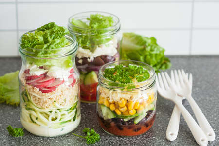 spiralized: healthy vegetable cheese salad in mason jars