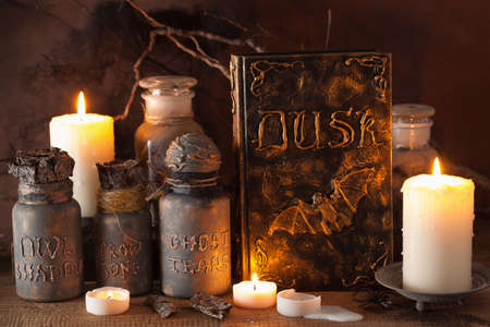 rituals: witch apothecary jars magic potions book halloween decoration