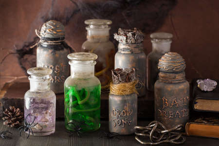 poison bottle: witch apothecary jars magic potions halloween decoration