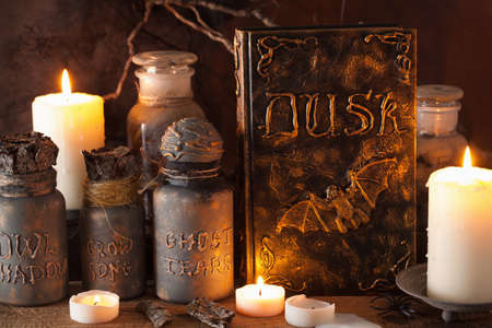apothecary: witch apothecary jars magic potions book halloween decoration