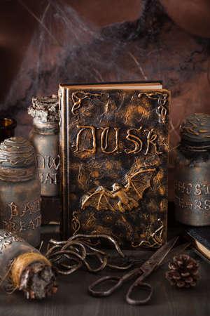 animal ritual: witch apothecary jars magic potions book halloween decoration