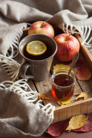 tea hot drink: hot lemon honey tea warming drink scarf cozy autumn leaves Stock Photo