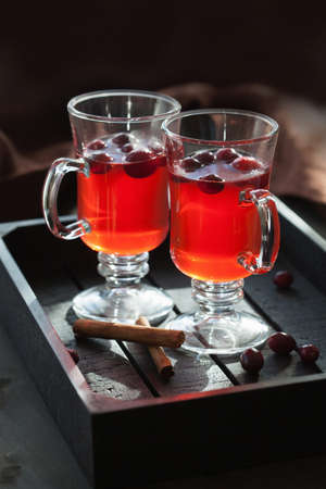 hot cranberry tea with cinnamon warming drink