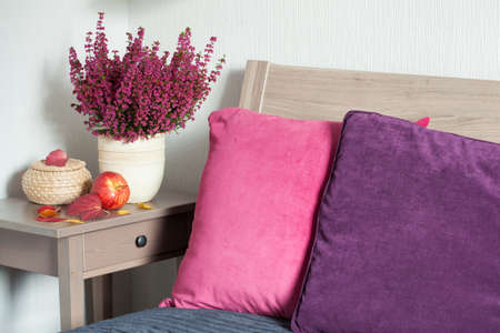 colorful cushion cozy home bedroom autumn mood flower leaf