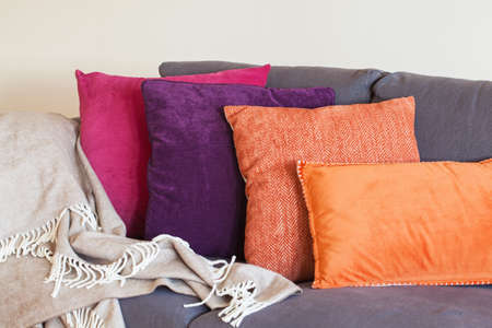 colorful cushion on sofa cozy home Stock Photo
