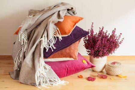 colorful cushions throw cozy home autumn mood flower leaf