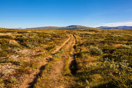 sunny landscape Norway mountains Dovrefjell Stock Photo