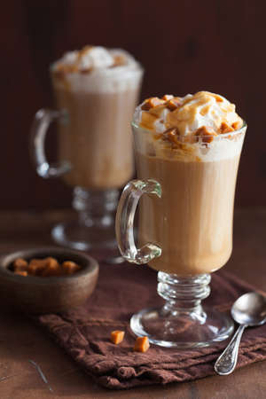 hot drink: latte with whiped cream and caramel Stock Photo