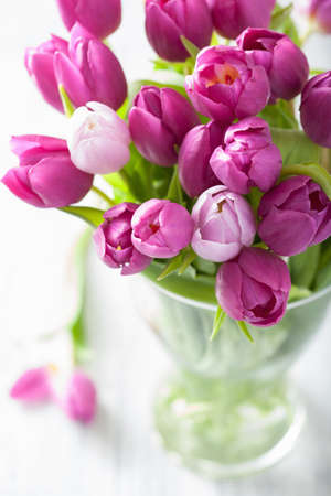beautiful purple tulip flowers bouquet in vase 写真素材