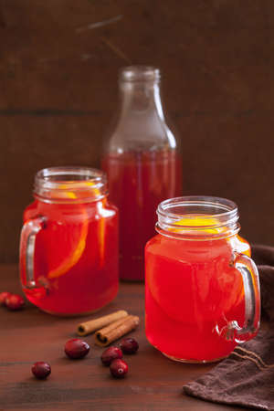 hot cranberry tea with orange cinnamon, warming drink Stock Photo