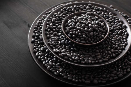 black turtle beans legumes in bowls