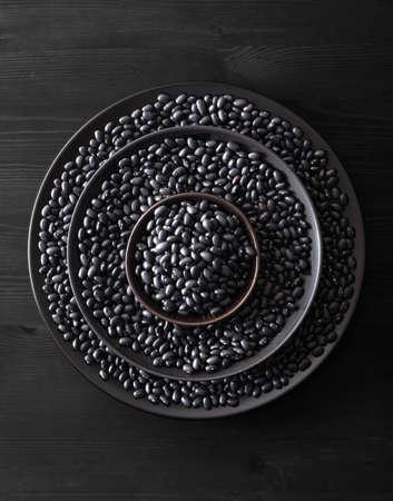 black turtle beans legumes in bowls