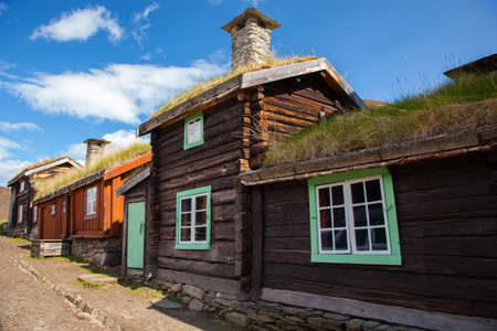 Traditional houses of copper mines town of Roros, Norway Stock Photo