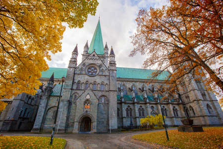 Nidaros Cathedral in autumn, Trondheim Norway