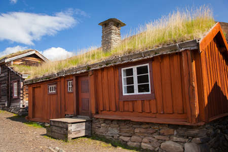 Traditional houses of copper mines town of Roros, Norway Zdjęcie Seryjne