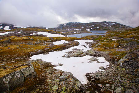 national tourist road 55 Sognefjellsvegen in misty weather, Norway